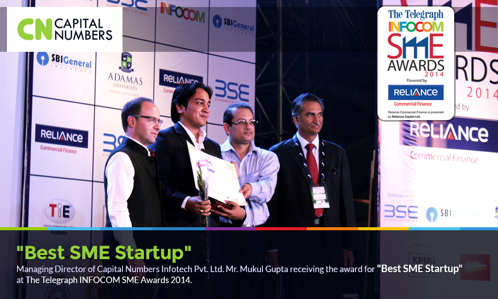 Mr. Mukul Gupta receiving Best SME Startup at The Telegraph INFOCOM SME Awards 2014