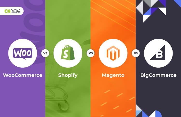 comparison of WooCommerce vs. Shopify vs. Magento vs. BigCommerce