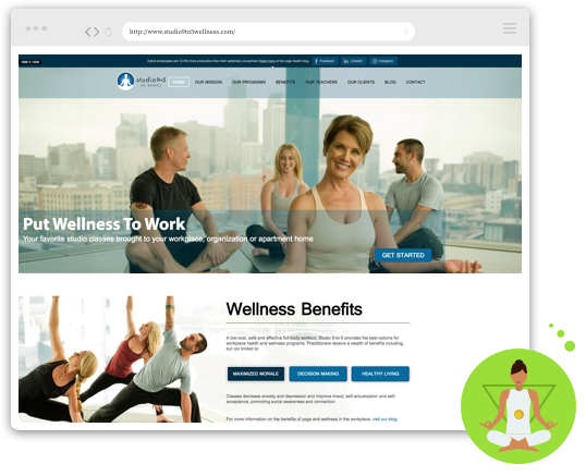 Web layout of yoga site