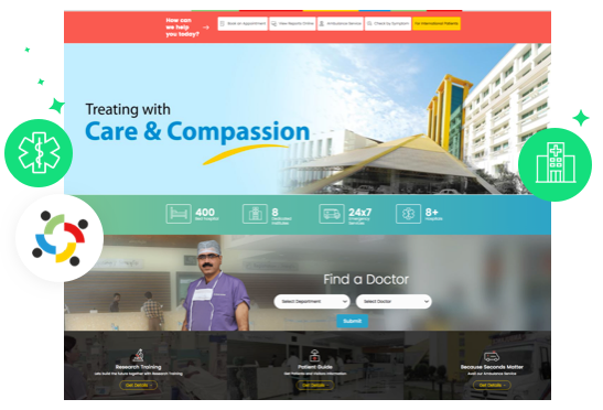 superspeciality hospital website layout
