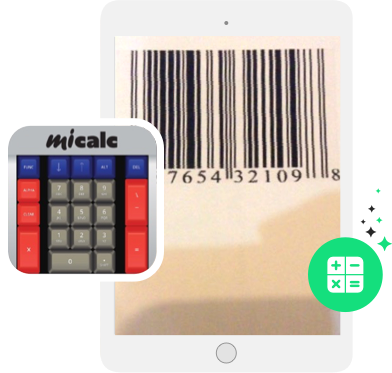 miCalc key buttons and barcode